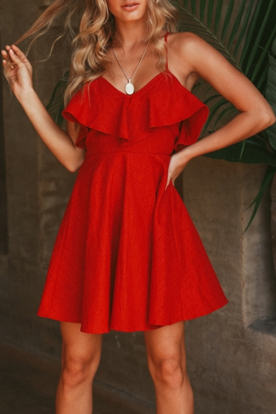 Summer Fashion Red Ruffled Hem Open Back Simple Plain Mini A-Line Slip Dress