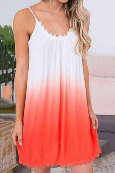 Trendy Ombre Two-Tone Lace-Trimmed Mini Loose Swing Cami Dress