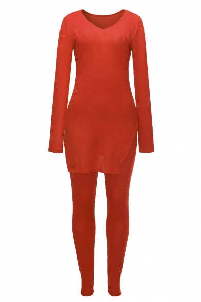 V-Neck Long Sleeve Split Side Sweater Skinny Stretch Pants Plain Slim Fit Set for Women