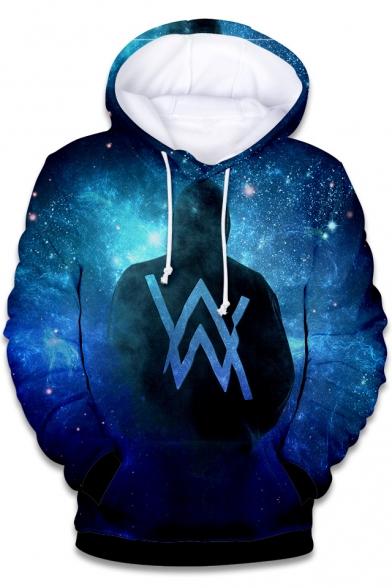Norwegian DJ 3D Galaxy Figure Double W Logo Printed Loose Fit Pullover Drawstring Hoodie