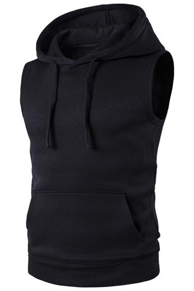 Basic Simple Plain Sleeveless Loose Fit Cotton Vest Hoodie for Men