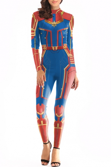 Captain Marvel Cool 3D Printed Cosplay Costume Long Sleeve Slim Blue Jumpsuits