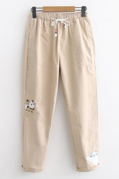 Drawstring Waist Lovely Cartoon Cat Embroidered Loose Fit Straight Pants, LC506042, Khaki;navy