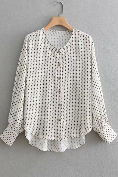 Fashion Allover Prismatic Print Long Sleeve Button Down White Shirt