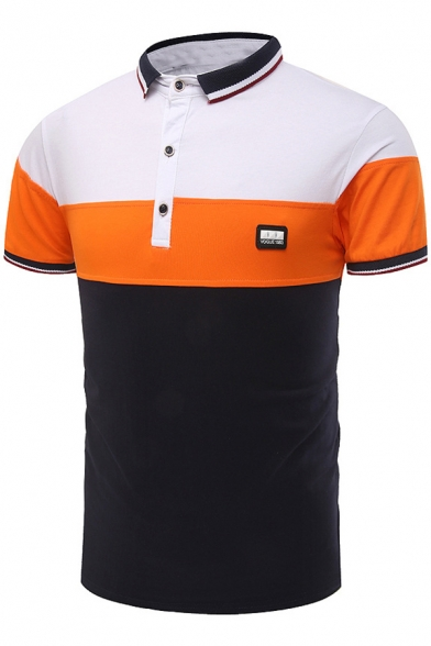 cf85bb9c9540 Fashion Contrast Tipped Colorblock Three-Button Slim Fit Polo Shirt for Men  ...