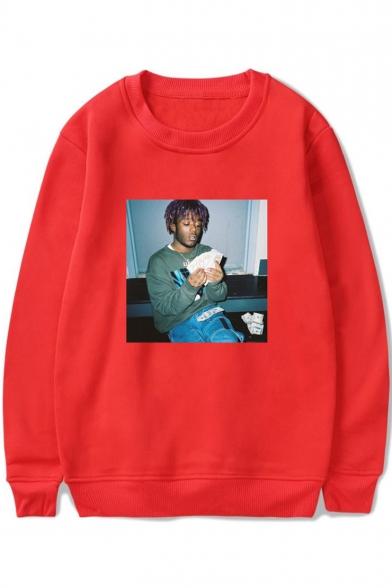 American Rapper Street Style Figure Printed Crewneck Long Sleeve Fashion Pullover Sweatshirt