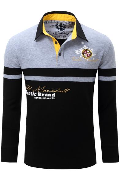 Men's Classic-Fit Color Block Letter Print Long Sleeve Logo Polo Shirt