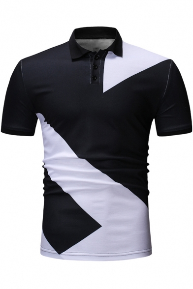 New Arrival Fashion Black and White Colorblocked Short Sleeve Slim Polo Shirt for Men