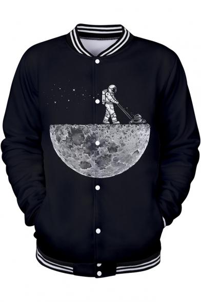 3D Moon Astronaut Print Rib Stand Collar Long Sleeve Button Front Black Baseball Jacket