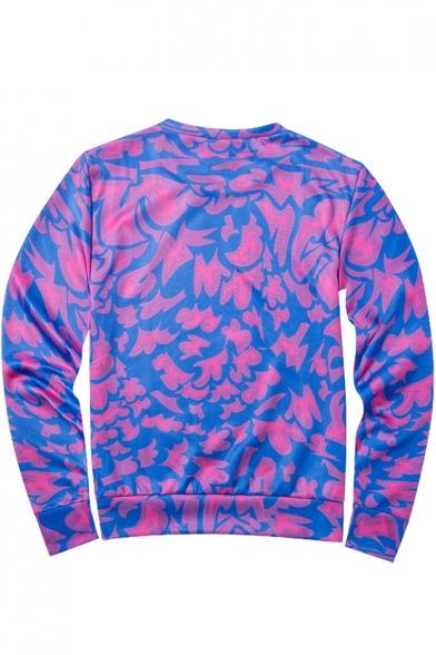 3D Purple Printed Crewneck Long Sleeve Sweatshirt