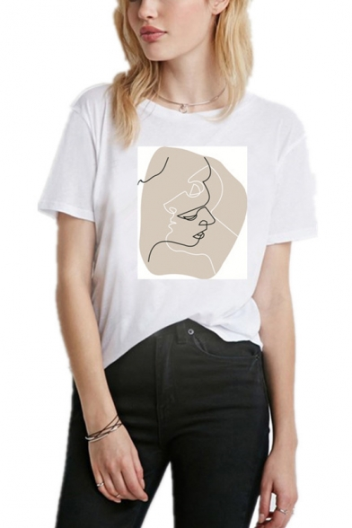 Abstract Art Figure Printed Round Neck Short Sleeve White T-Shirt