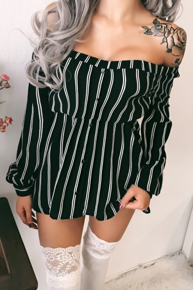 Casual Off the Shoulder Long Sleeve Trendy Striped Printed Button Front Mini A-Line Dress