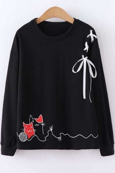 Chic Lace-Up Shoulder Crewneck Long Sleeve Cartoon Cat Print Loose Fit Sweatshirt