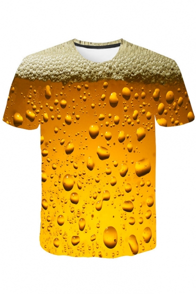 Cool 3D Beer Bubble Printed Round Neck Short Sleeve Yellow Tee