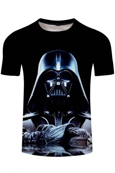 Cool 3D Darth Vader Printed Black Short Sleeve Basic T-Shirt