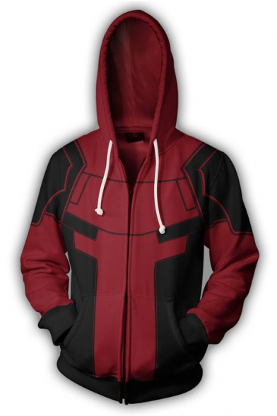 Fashion 3D Colorblocked Cosplay Costume Zip Up Red Drawstring Hoodie with Pocket