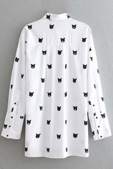 Fashion Allover Cartoon Cat Printed Long Sleeve Button Down Long White Shirt