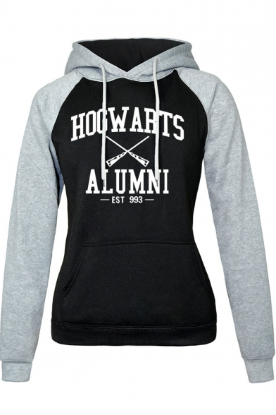 Harry Potter Fashion Letter HOGWARTS Colorblock Long Sleeve Fitted Drawstring Hoodie