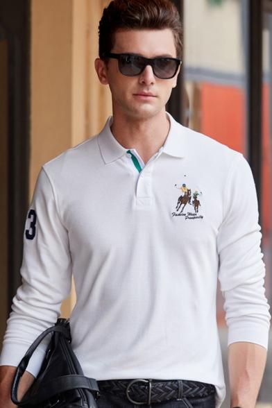 Men's High Quality Cotton Long Sleeve Casual Business Logo Polo Shirt