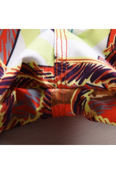 Men's Summer Stylish Coconut Palm Print Drawstring Waist Beach Surfing Orange Swim Shorts