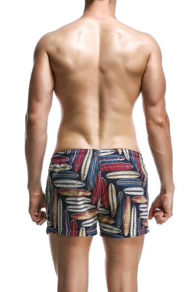 Men's Summer Stylish Tropical Plants Printed Drawstring Waist Casual Beach Swim Trunks