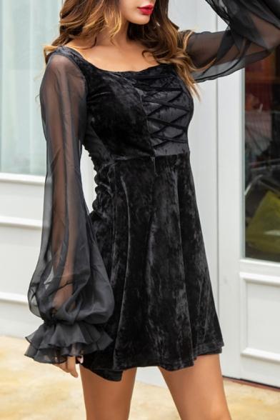 Retro Square Neck Sheer Lantern Sleeve Black Velvet Mini A-Line Dress for Women
