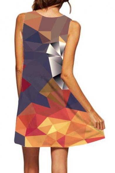 Stylish Round Neck Sleeveless 3D Geometric Printed Mini Swing Tank Dress