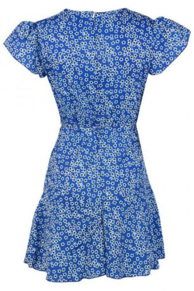 Summer Retro Floral Printed V-Neck Bow-Tied Waist Mini A-Line Tea Dress