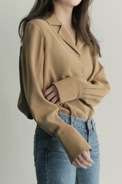 Vintage Notched Lapel Collar Long Sleeve Simple Plain Loose Fit Button Shirt