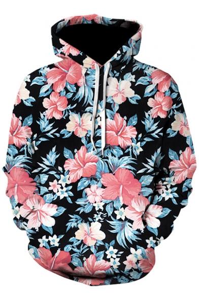 Fashion 3D Floral Pattern Long Sleeve Black Drawstring Hoodie