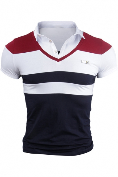 Men's Summer Casual Fashion Patched Shirt Collar Striped Short Sleeve Polo Shirt