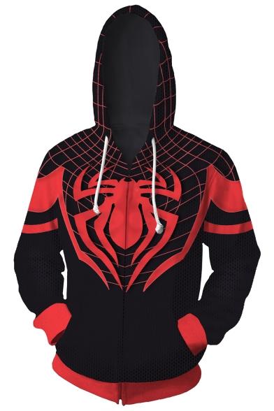 New Trendy Cosplay Printed Long Sleeve Black Zip Up Drawstring Hoodie