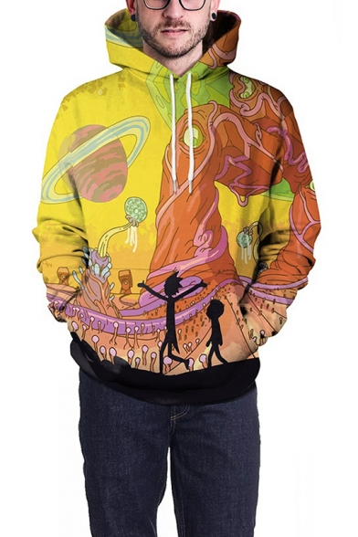 Rick and Morty 3D Planet Graffiti Print Loose Fit Pullover Yellow Hoodie