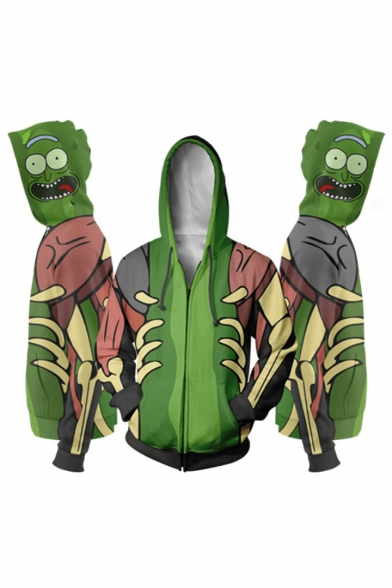 Rick and Morty Funny 3D Print Cosplay Long Sleeve Zip Up Green Hoodie