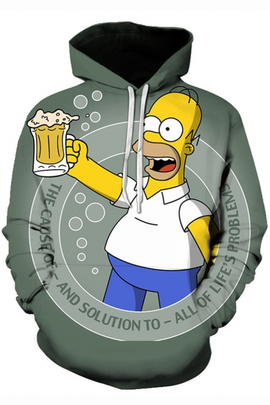 The Simpson with Beer 3D Comic Printed Unisex Loose Casual Drawstring Hoodie