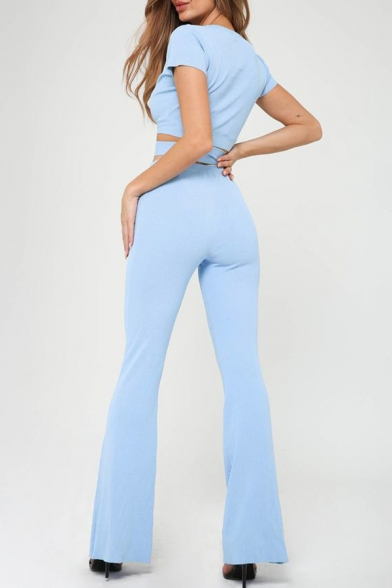 Women's Light Blue Simple Plain Elastic Waist Flared Pants