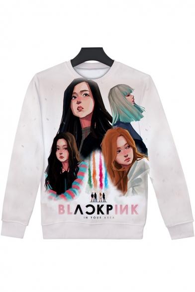 Kpop Figure Printed Basic Crewneck Long Sleeve White Sweatshirt