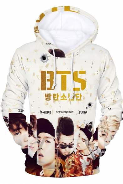 Boy Band Figure Letter Pattern Casual Relaxed Long Sleeve Pullover Drawstring Hoodie