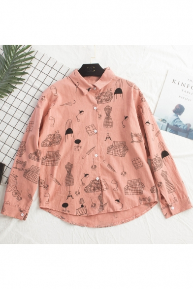 Cartoon Sofa Printed Fashion Long Sleeve Button Down Linen Shirt