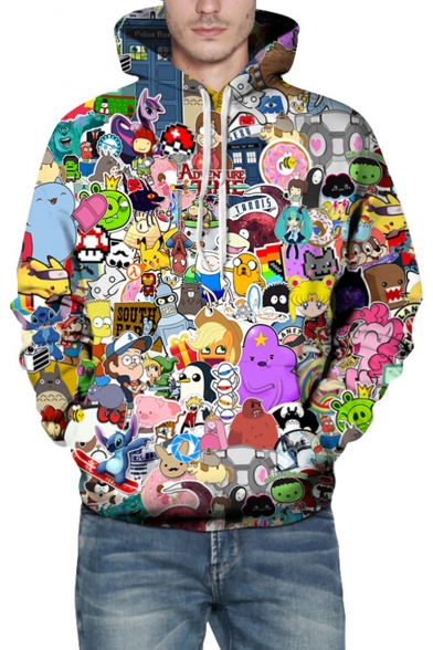 Cool 3D Cartoon Comic Character Printed Casual Loose Fit Pullover Hoodie with Pocket