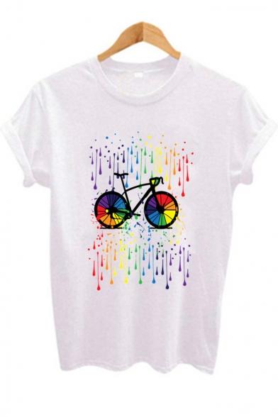 Creative Abstract Bike Pattern Short Sleeve Basic White T-Shirt