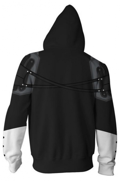 Kingdom Hearts Cosplay Costume Long Sleeve Black Fitted Zip Up Drawstring Hoodie