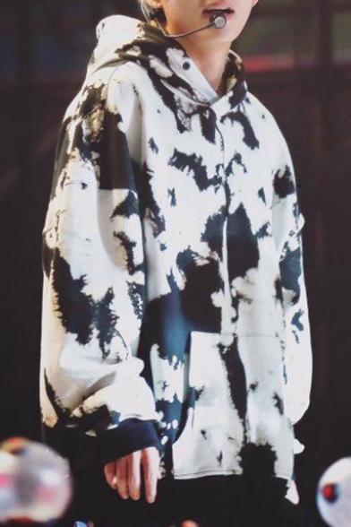 Kpop V Tae Hyung White Graffiti Cool Long Sleeve Oversized Hoodie
