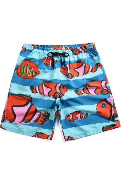 Men's Summer Tropical Fish Print Drawstring Waist Quick-Dry Beach Blue Swim Trunks