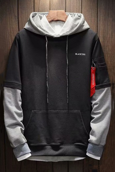 New Trendy Patched Long Sleeve Letter Ribbon Detail Sport Casual Hoodie