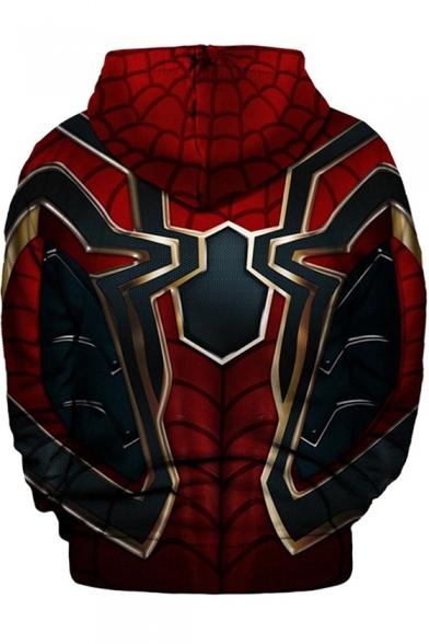 Popular Print Long Sleeve Red Pullover Drawstring Hoodie