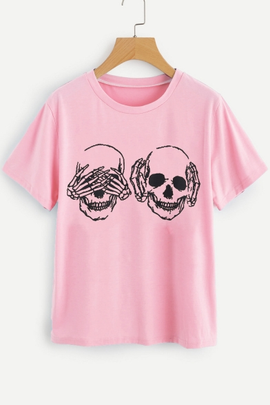 Summer Funny Skull Printed Short Sleeve Round Neck Loose Relaxed T-Shirt