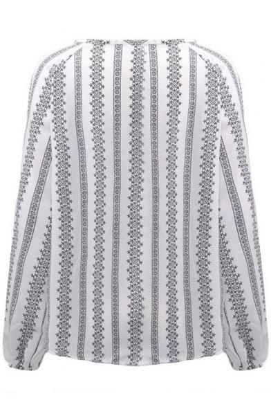 Summer New Trendy Ethnic Striped Print V-Neck Lantern Sleeve White Blouse