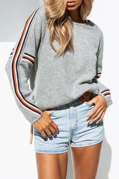 Купить со скидкой Trendy Striped Long Sleeve Round Neck Casual Loose Grey Sweater