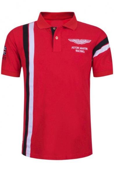 Trendy Vertical Stripe Fashion Letter Eagle Logo Athletic-Fit Golf Polo for Men
